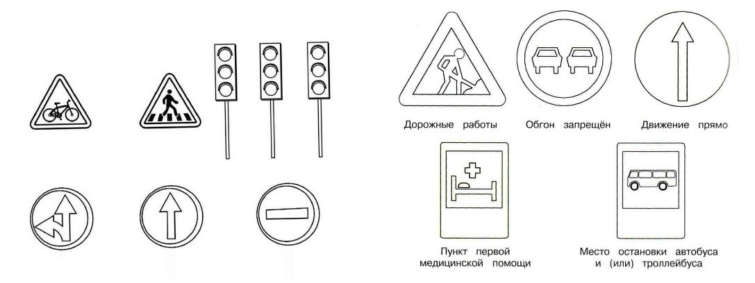 Раскраска дорожные знаки для детей в картинках для дошколят